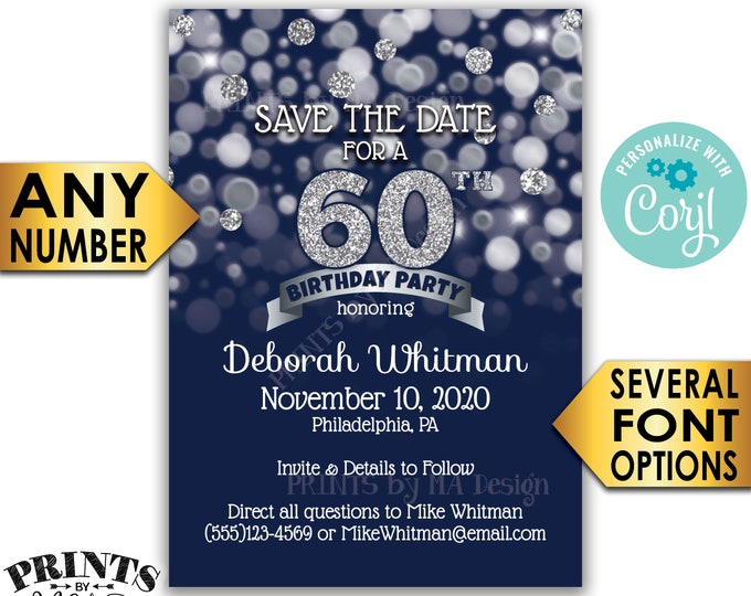 "Navy Blue & Silver Glitter Birthday Party Save the Date, PRINTABLE 5x7"" Bday STD Invite Card <Edit Yourself with Corjl>"