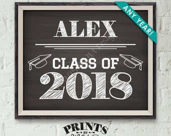 "Class of Sign, Custom Year of Graduation Sign, High School Graduation Party, College Grad Party, Chalkboard Style PRINTABLE 8x10/16x20"" Sign"