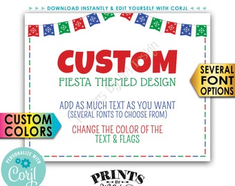 """Custom Fiesta Themed Poster, Choose Your Text & Colors, PRINTABLE 8x10/16x20"""" Landscape Sign <Edit Yourself with Corjl>"""