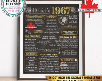 "CANADIAN 1967 Flashback to 1967 Birthday, Back in 1967 History, Anniversary Reunion Retirement, PRINTABLE 16x20"" Sign <ID>"