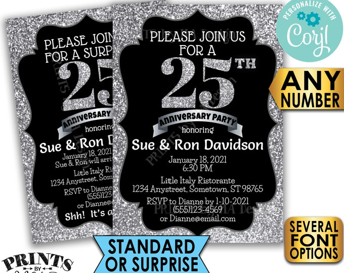 "Silver Anniversary Party Invitation, Any Number, Black & Silver Glitter 5x7"" PRINTABLE Anniversary Invite Card <Edit Yourself with Corjl>"