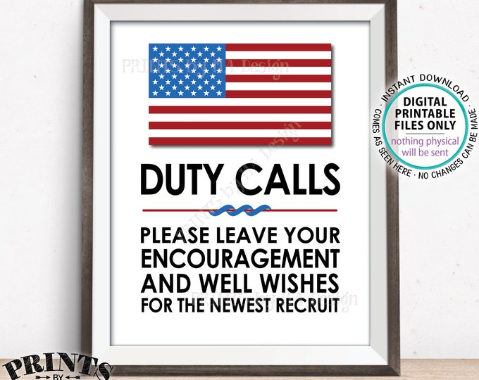 "Military Party Decor, Leave your Encouragement and Well Wishes, US Military Boot Camp, Patriotic, PRINTABLE 8x10/16x20"" Military Sign <ID>"
