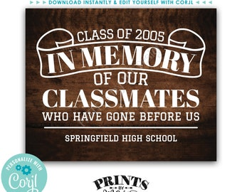 """Reunion Memorial, In Memory of the Classmates Who Have Gone Before Us, PRINTABLE Rustic Wood Style 16x20"""" Sign <Edit Yourself with Corjl>"""