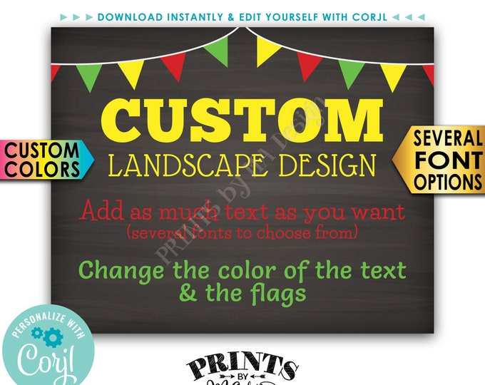"""Custom Poster with Flags, Choose Your Text & Colors, PRINTABLE 8x10/16x20"""" Chalkboard Style Landscape Sign <Edit Yourself with Corjl>"""