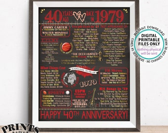 "40th Anniversary Gift, Married in 1979 Anniversary Flashback 40 Years Back in 1979, Ruby, PRINTABLE 8x10/16x20"" Chalkboard Style Sign <ID>"