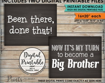 """Been There Done That Now It's My Turn to be a Big Brother Pregnancy Announcement, 16x20"""" Chalkboard Style Instant Download Digital Printable"""