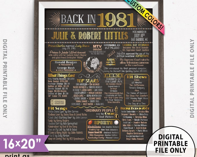 "Back in 1981 Poster, Anniversary Gift, Flashback to 1981 Anniversary Party Decorations, Custom PRINTABLE 16x20"" Sign"