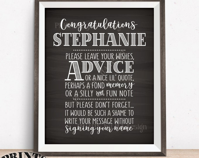 """Graduate Advice Sign, Please leave your Advice, Wish, Memory, Message, Graduation Party, PRINTABLE 8x10"""" Chalkboard Style Grad Party Decor"""
