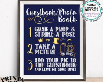 """Guestbook Photobooth Sign, Add photo to the Guest Book and Leave Me Some Love, PRINTABLE 8x10/16x20"""" Navy & Gold Photo Booth Sign <ID>"""