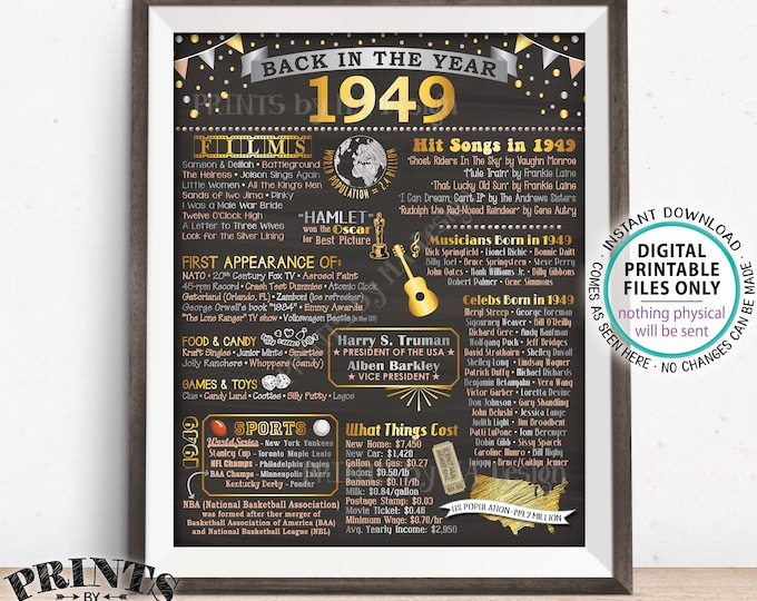 "Back in 1949 Poster Board, Flashback to 1949, Remember 1949, USA History from 1949, PRINTABLE 16x20"" 1949 Sign <ID>"