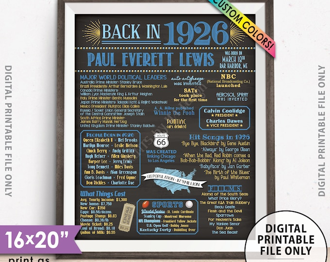 """Flashback to 1926 Poster, Back in 1926 Flashback Sign, Born in 1926 Birthday Party Decor, Chalkboard Style PRINTABLE 8x10/16x20"""" 1926 Poster"""