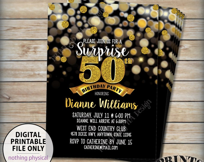 "Surprise Birthday Party Invitation, 30th 40th 50th 60th 70th Birthday Invite, Black & Gold Glitter PRINTABLE 5x7"" Bday Invite, Digital File"
