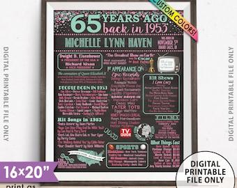 "65th Birthday Gift 1953 Birthday Poster, Flashback 65 Years Ago Back in 1953, Custom Chalkboard Style PRINTABLE 8x10/16x20"" 1953 Bday Poster"