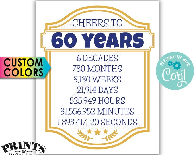 "Cheers to 60 Years, 60th Birthday, 60th Anniversary, Cheers & Beers Party, PRINTABLE 8x10/16x20"" Sign <Edit Colors Yourself with Corjl>"