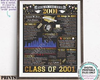"""Class of 2001 Reunion Decoration, Back in the Year 2001 Poster Board, Flashback to 2001 High School Reunion, PRINTABLE 16x20"""" Sign <ID>"""