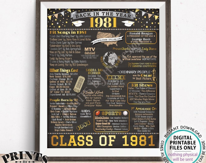 "Back in 1981 Poster Board, Graduating Class of 1981 Reunion Decoration, Flashback to 1981 High School Reunion, PRINTABLE 16x20"" Sign <ID>"