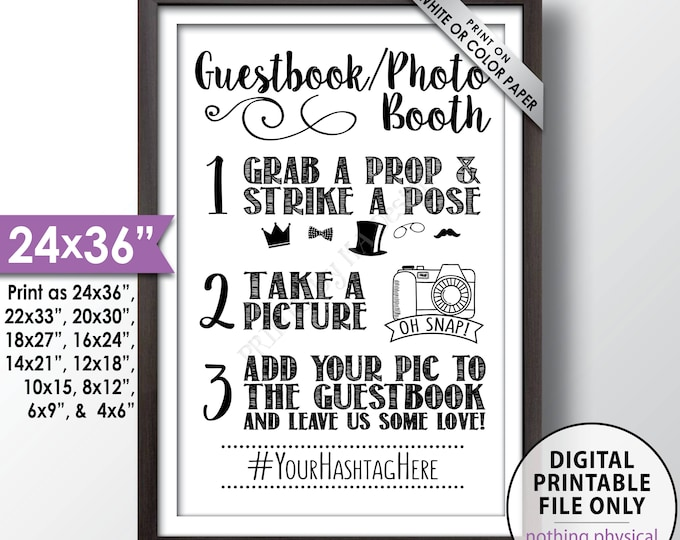 """Guestbook Photobooth Sign, Hashtag Photo Guest Book Sign, Selfie Station, Add photo to our Guestbook Sign, PRINTABLE 24x36"""" Hashtag Sign"""