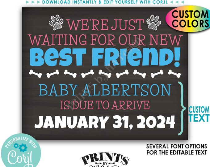 Dogs Pregnancy Announcement, We're Just Waiting for our New Best Friend, Custom PRINTABLE Chalkboard Style Sign <Edit Yourself with Corjl>