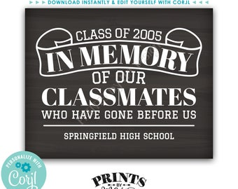 """In Memory of the Classmates Who Have Gone Before Us Reunion Memorial, PRINTABLE 8x10/16x20"""" Chalkboard Style Sign <Edit Yourself with Corjl>"""