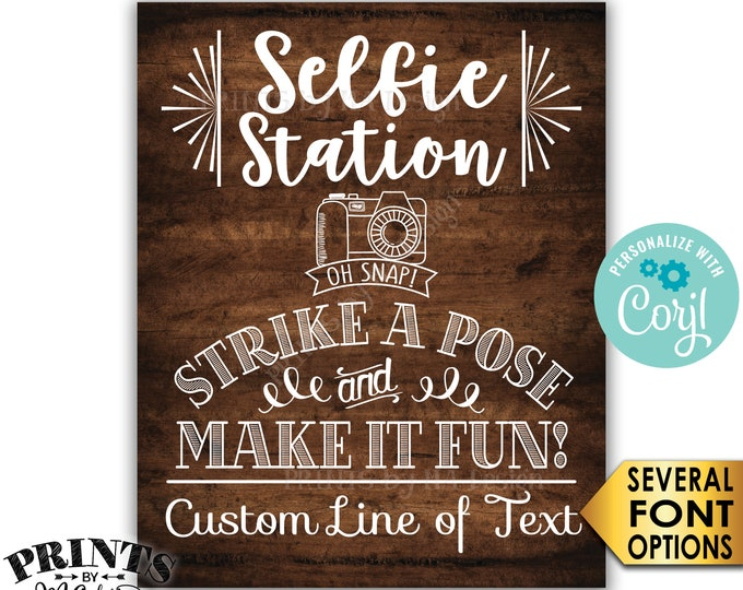 """Selfie Station Sign, Srike a Pose & Make it Fun, Custom PRINTABLE 8x10/16x20"""" Rustic Wood Style Sign <Edit Yourself with Corjl>"""