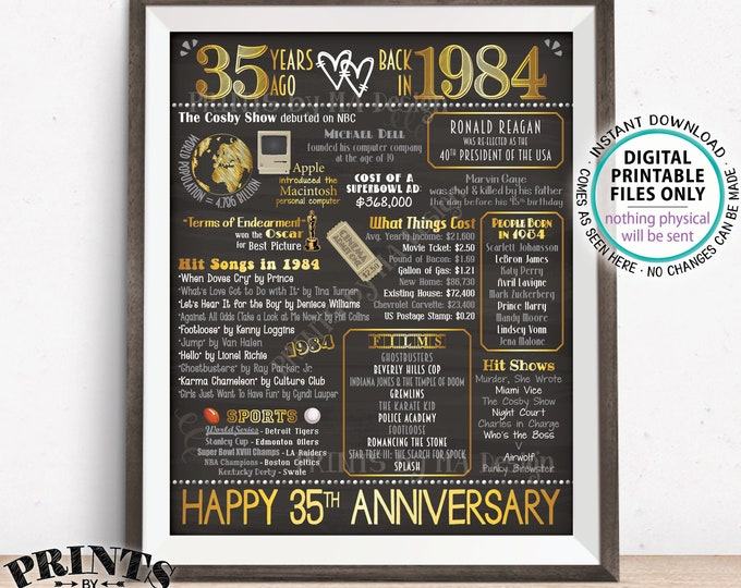 "35th Anniversary Married in 1984 Flashback to 1984 Poster, USA Back in 1984 Sign, Gold, PRINTABLE 16x20"" 1984 Sign <ID>"