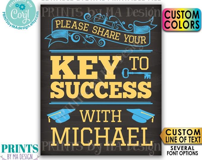 "Please share your Key to Success Graduation Advice Sign, Editable PRINTABLE 8x10/16x20"" Chalkboard Style Grad Sign <Edit Yourself w/Corjl>"