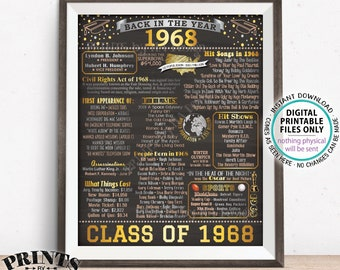"Back in 1968 Poster Board, Graduating Class of 1968 Reunion Decoration, Flashback to 1968 High School Reunion, PRINTABLE 16x20"" Sign <ID>"