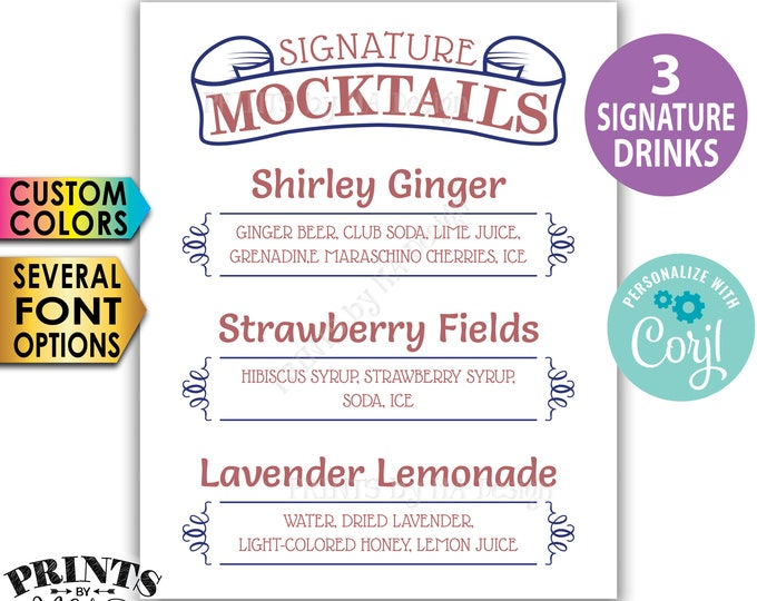 "Signature MOCKtails Sign, 3 Non-Alcoholic Beverages, Custom PRINTABLE 8x10/16x20"" Mixed Drinks Sign <Edit Yourself w/Corjl>"