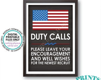 """Military Party Sign, Leave your Encouragement & Well Wishes, US Military Boot Camp Party Decor, PRINTABLE 24x36"""" Chalkboard Style Sign <ID>"""
