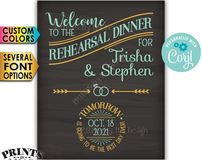 """Rehearsal Dinner Sign, Tomorrow is Going to Be The Best Day Ever, PRINTABLE 8x10/16x20"""" Chalkboard Style Sign <Edit Yourself with Corjl>"""