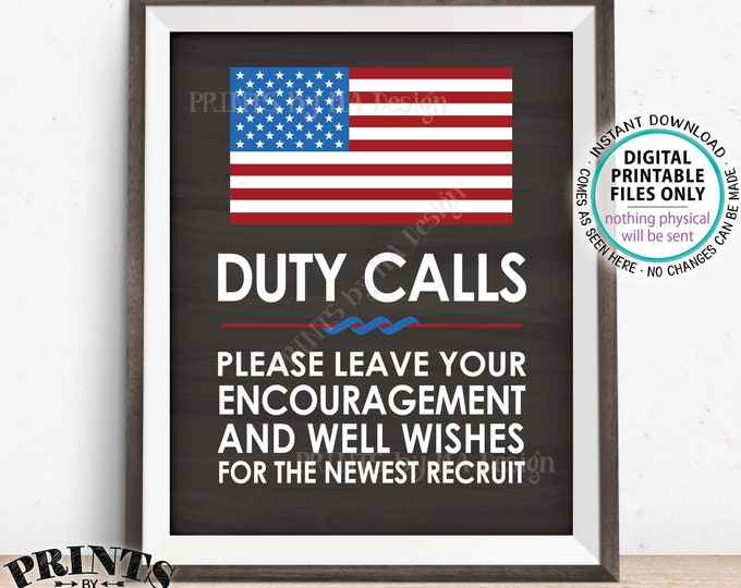"Military Party Sign, Leave your Encouragement & Well Wishes, US Military Boot Camp Party, PRINTABLE 8x10/16x20"" Chalkboard Style Sign <ID>"