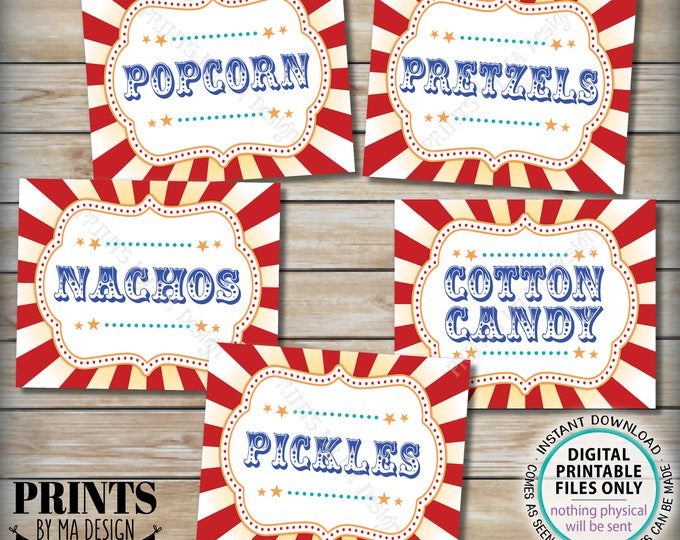 "Carnival Food Signs, Popcorn, Cotton Candy, Pickles, Pretzels, Nachos, Circus, PRINTABLE 8x10/16x20"" Carnival Theme Party Food Signs <ID>"