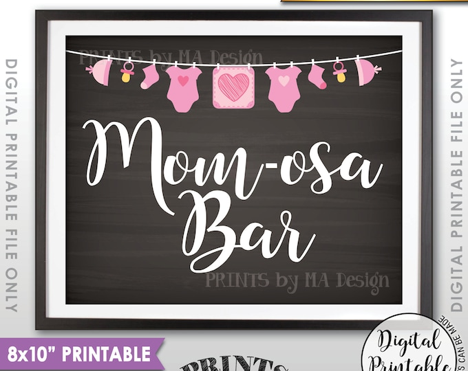 "Mimosa Bar Sign, MOMosa Sign, Make a Mimosa Drink, Mom-osa Sign, Pink Clothesline, Instant Download 8x10"" Chalkboard Style Printable"