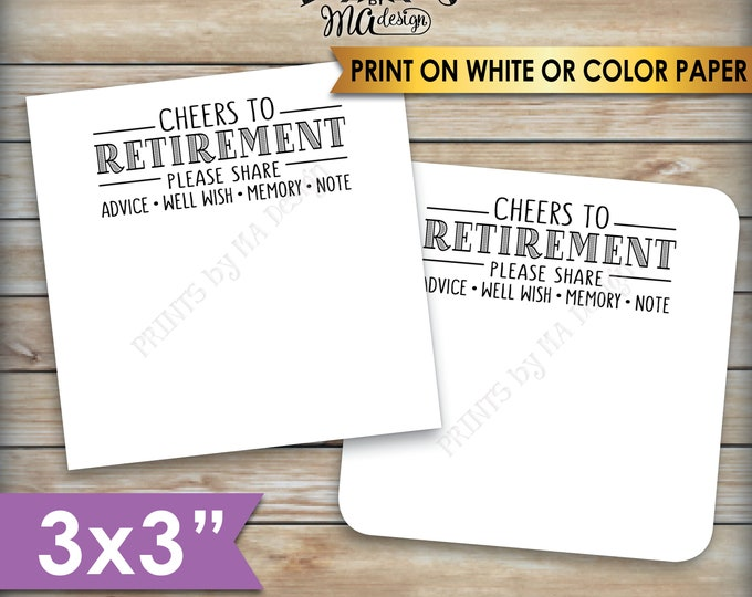 "Retirement Wishes Cards, Cheers to Retirement, Memory, Advice, Well Wishes, Retirement Party Decor, 3"" cards on PRINTABLE 8.5x11"" Sheet <ID>"