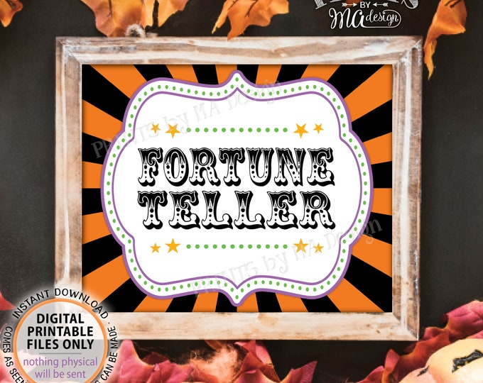 "Halloween Fortune Teller Carnival Party Sign, Carnival Games, Circus Party Fortune Teller Circus Activities, PRINTABLE 8x10/16x20"" Sign <ID>"