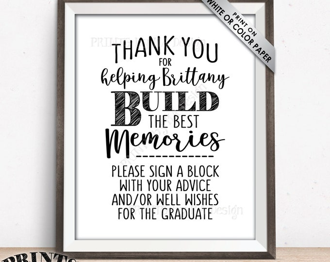 "Thanks for Helping Build Memories, Graduation Memories, Sign a Block Sign, Graduation Party Decorations, PRINTABLE 8x10"" Grad Party Sign"