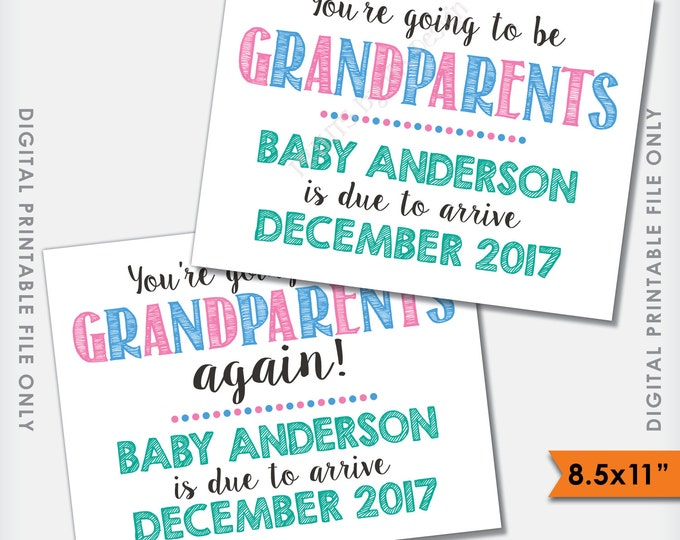 "Grandparents Pregnancy Announcement, You're Going to be Grandparents, Grandma and Grandpa, PRINTABLE 8.5x11"" Digital FIle"