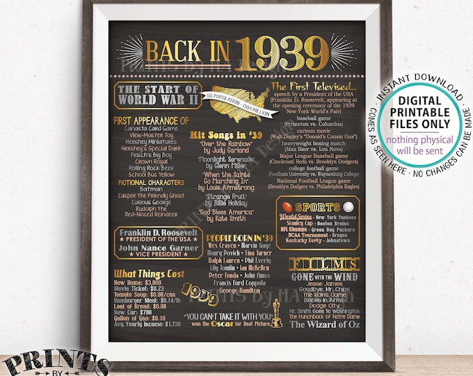 """1939 Flashback Poster, Flashback to 1939 USA History Back in 1939 Birthday Anniversary Reunion, Chalkboard Style PRINTABLE 16x20"""" Sign <ID>"""