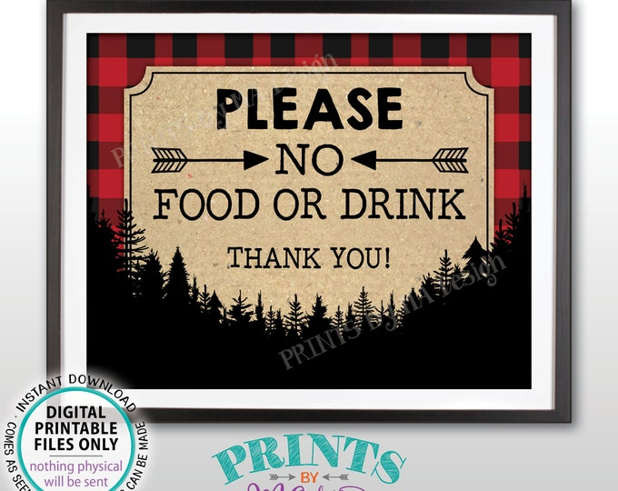 "Please No Food or Drink Sign, No Food Sign, Keep Out, Rules for Home, House Rules, Buffalo Plaid, PRINTABLE 8x10"" Lumberjack Style Sign <ID>"