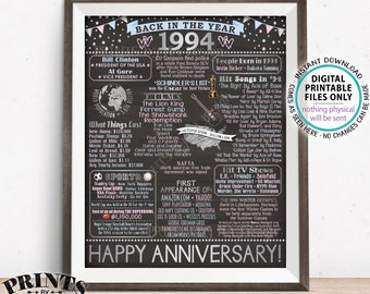 """Back in 1994 Anniversary Poster Board, Flashback to 1994 Anniversary Decor, Gift, Silver, PRINTABLE 16x20"""" Sign <ID>"""
