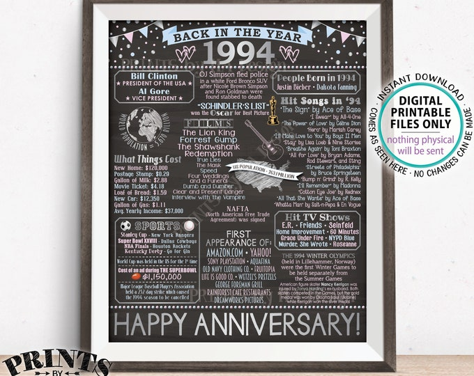 "Back in 1994 Anniversary Poster Board, Flashback to 1994 Anniversary Decor, Gift, Silver, PRINTABLE 16x20"" Sign <ID>"
