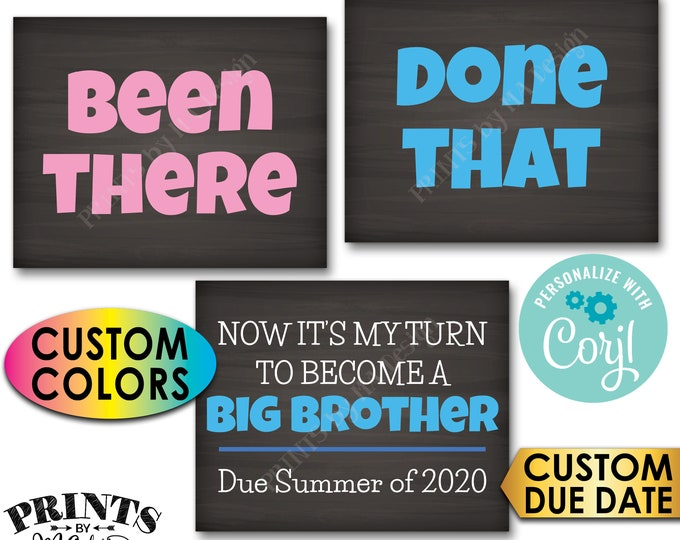 Pregnancy Announcement, Been There, Done That, My Turn to Become a Big Brother, 3 PRINTABLE Baby #4 Reveal Signs <Edit Yourself with Corjl>