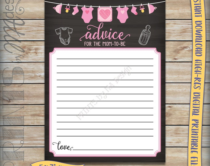"Mom-to-Be Advice Cards, Advice for Mom Baby Shower Activity, Pink Clothesline, Girl, Chalkboard 5x7"" Instant Download Digital Printable File"