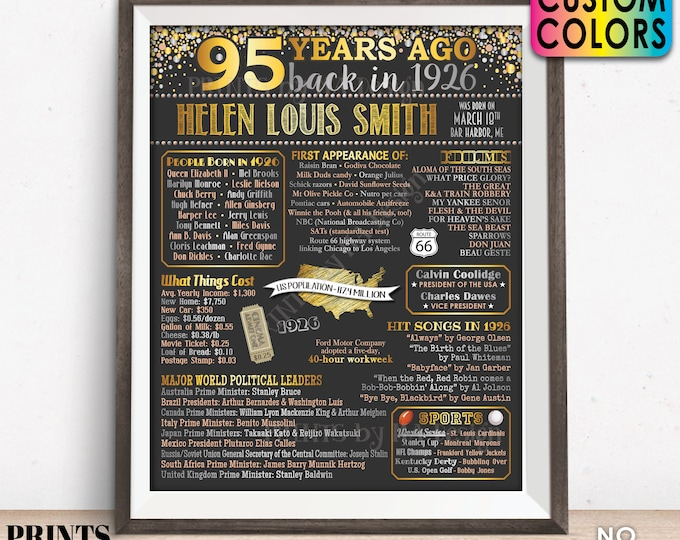 "Back in the Year 1926 Birthday Sign, Flashback to 1926 Poster Board, 1926 Birthday Gift, Custom PRINTABLE 16x20"" B-day Decoration"