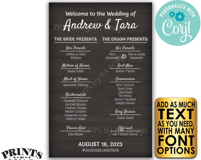 "Welcome to our Wedding Sign, Custom PRINTABLE 24x36"" Chalkboard Style Wedding Bridal Party Welcome Sign <Edit Yourself with Corjl>"