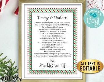 "Christmas Elf Welcome Back Letter, Elf has Returned, Create One Custom Editable PRINTABLE 8.5x11"" Digital File <Edit Yourself with Corjl>"