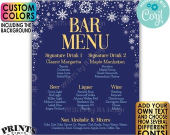 "Editable Bar Menu Sign, Winter Snowflakes, PRINTABLE 8x10/16x20"" Drink Menu Sign, Custom Color Background <Edit Yourself with Corjl>"