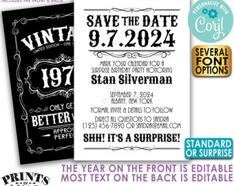 """Vintage Birthday Party Save the Date, Better with Age, Two PRINTABLE 5x7"""" Files, Whiskey or Liquor Bday Invite <Edit Yourself with Corjl>"""