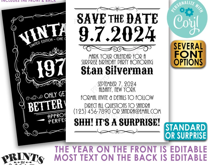 "Vintage Birthday Party Save the Date, Better with Age, Two PRINTABLE 5x7"" Files, Whiskey or Liquor Bday Invite <Edit Yourself with Corjl>"