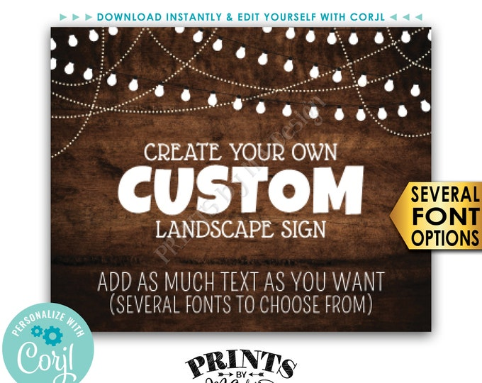 """Custom Rustic Wood Style Poster with Lights, Choose Your Text, One PRINTABLE 8x10/16x20"""" Landscape Sign <Edit Yourself with Corjl>"""